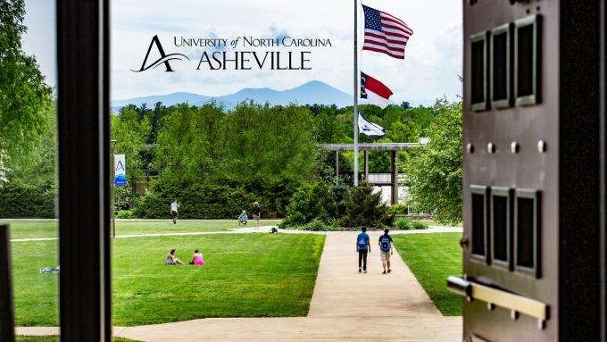 Zoom background view of Mt. Pisgah from Ramsey Library at UNC Asheville