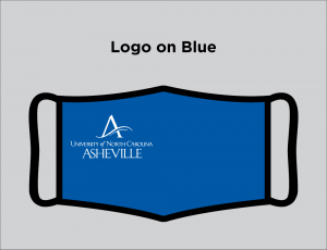 Blue face mask with UNC Asheville logo