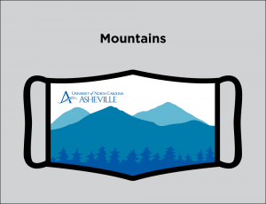 Face mask logo with mountains graphic