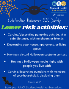 How to celebrate Halloween safely flyer